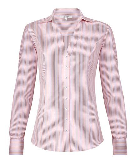 Fitted Pink Multi Stripe Shirt