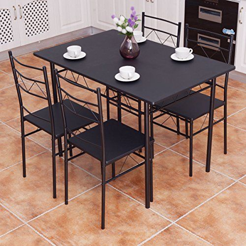Kchex5 Piece Dining Table Set 4 Chairs Wood Metal Kitchen