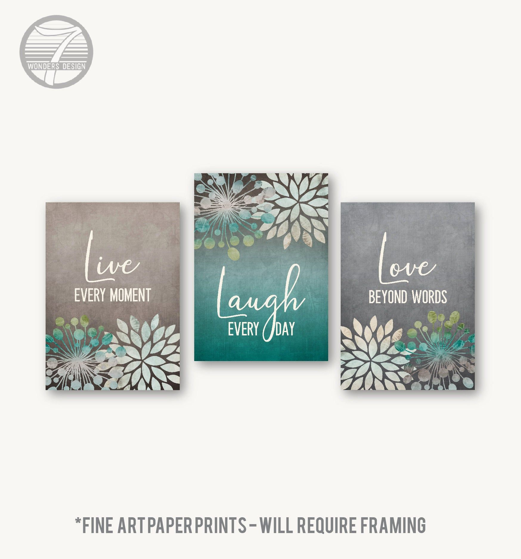 Live Laugh Love Wall Art Cottage Beach Farmhouse Floral Teal Grey Fine Art Print Set Of 3 5x7 8x10 Or 11x14 Home Ho Love Wall Art Love Wall Art Print Set