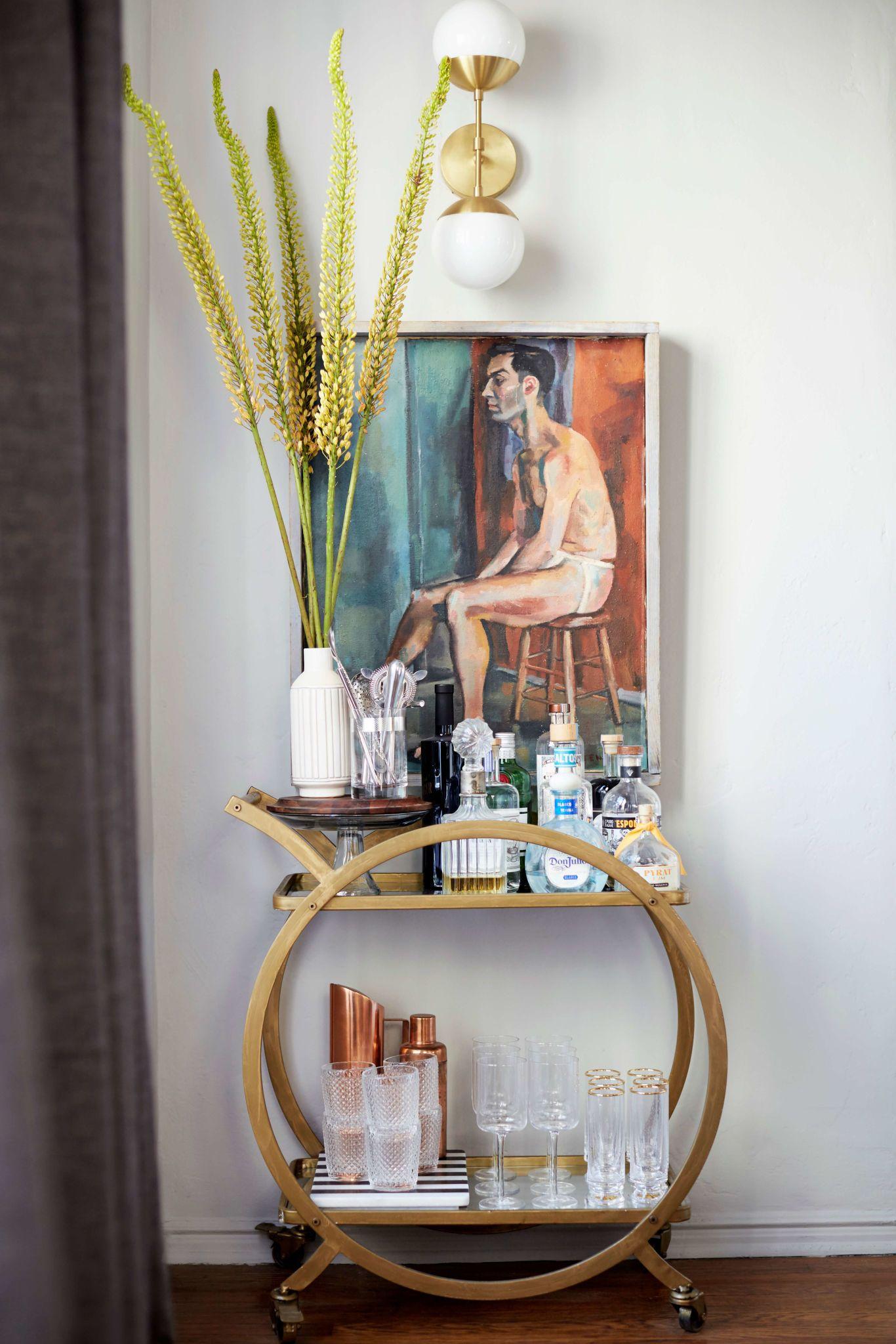 Brady S Living Room Reveal Emily Henderson Living Room Reveal Bar Cart Decor Bar Cart Styling