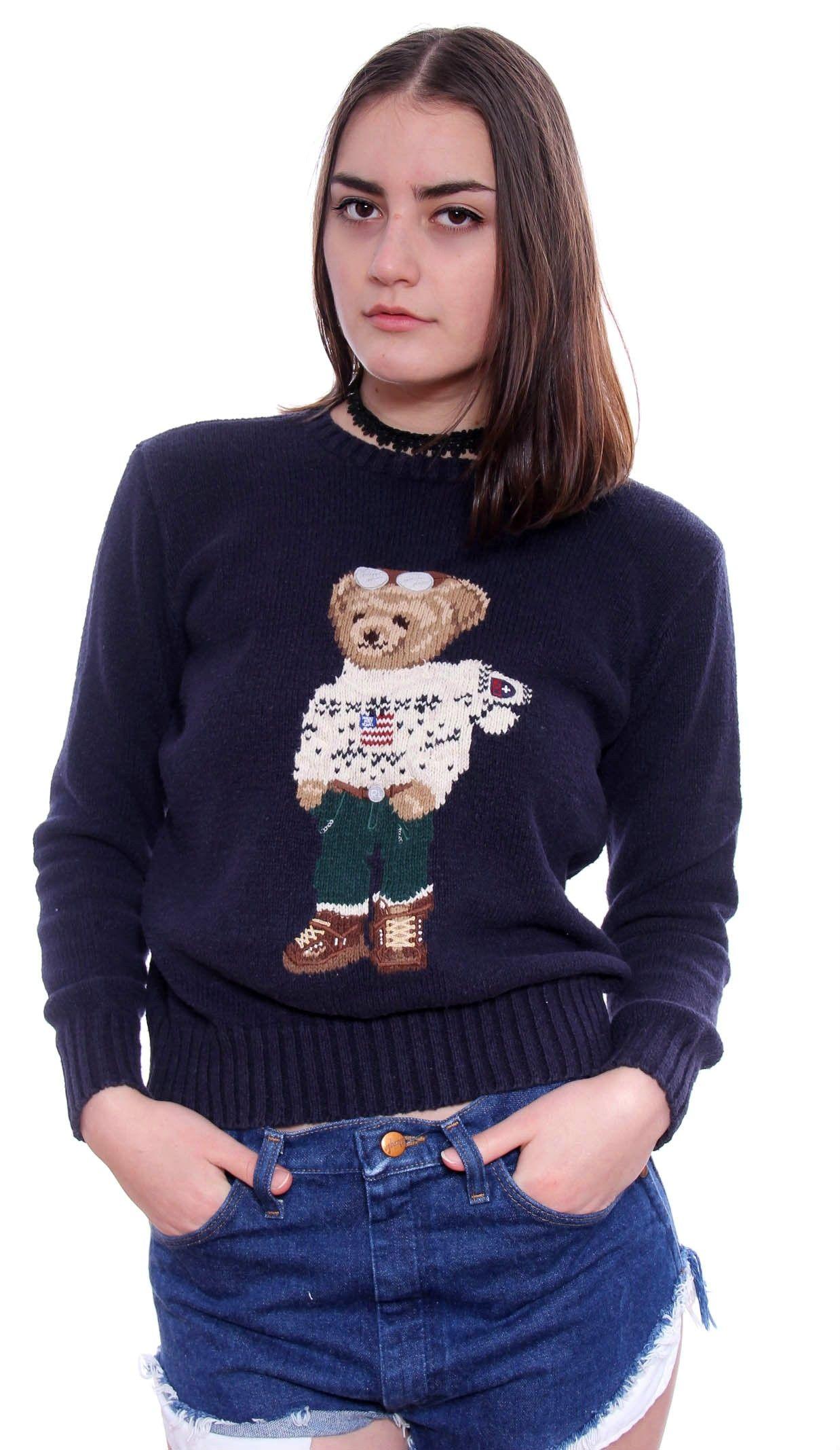 Vintage Ralph Lauren Polo Sport Rare Iconic Ski Bear Knit