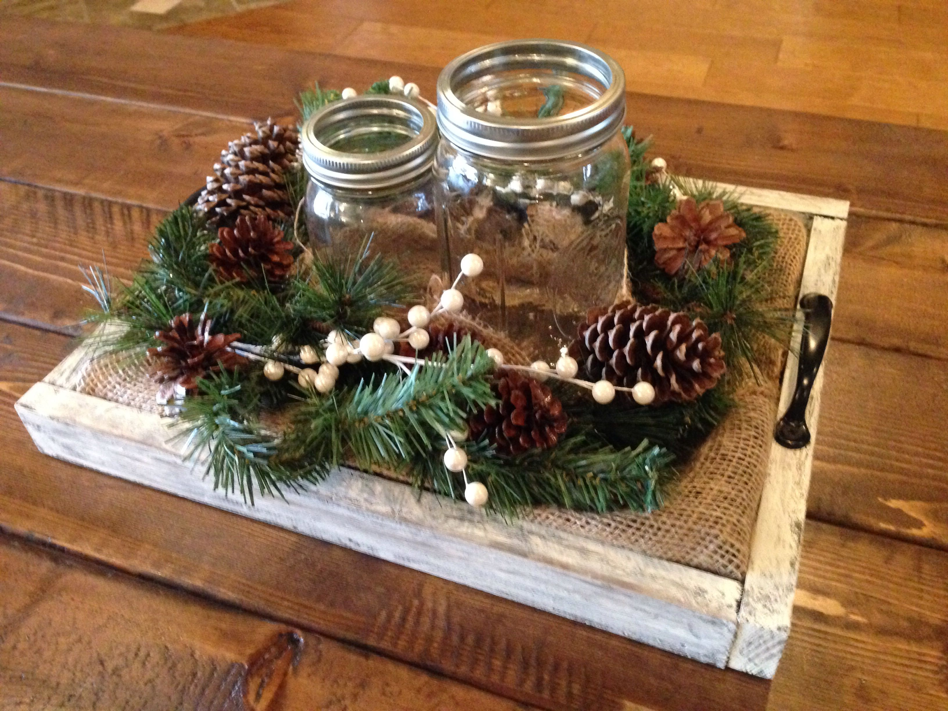 Coffee Table Tray Add Candles Christmas Tray Rustic Christmas Coffee Table Decor Tray