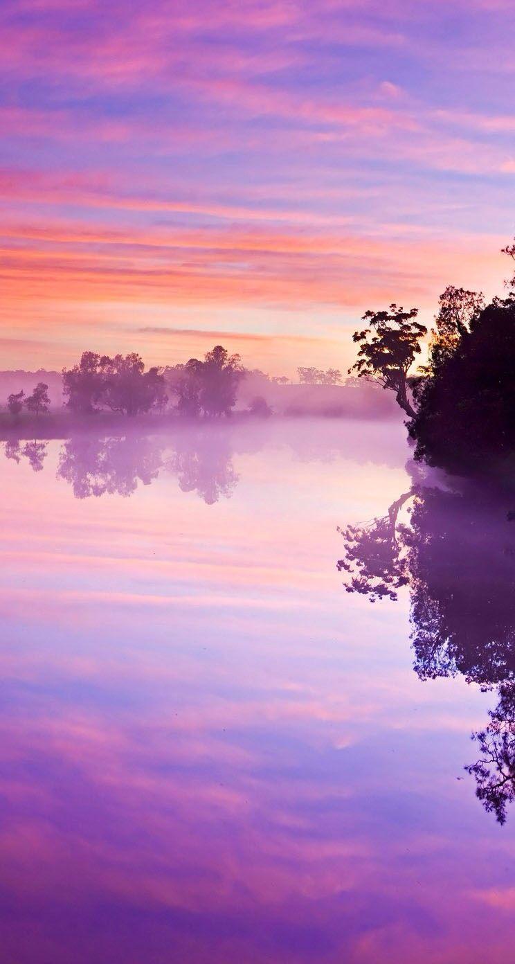 Purple Misty Marsh Iphone Wallpaper Sky Purple Sky Beautiful Nature