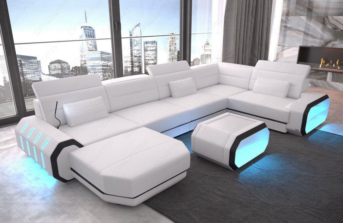 Wohnlandschaft Roma Xxl Mit Ottomane Weiss Schwarz Sofa Design Ecksofas Wohnzimmermobel Modern