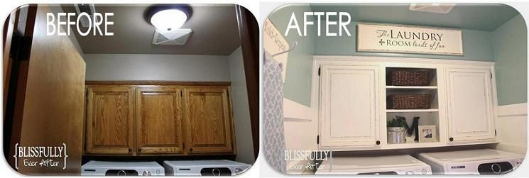 Laundry Room Makeover Paint Cabinets Using Floetrol Additive To