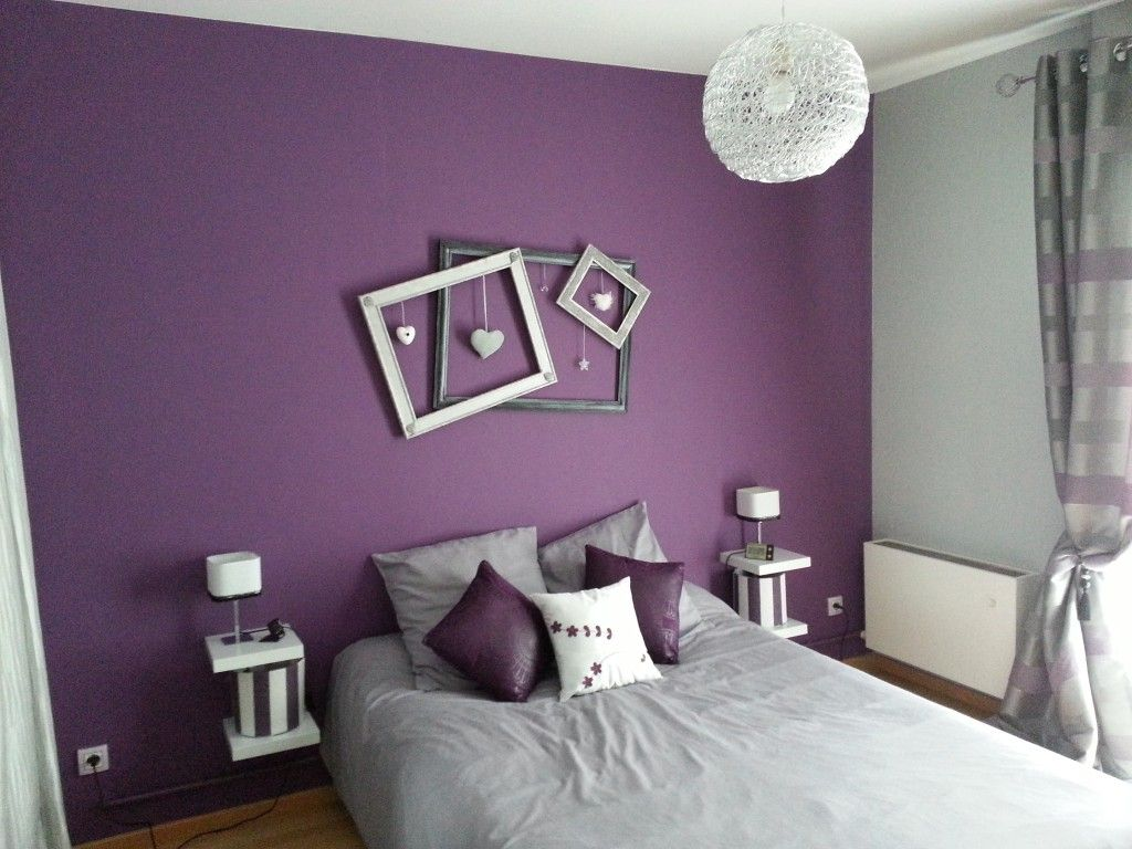 d co chambre violet et gris chambre parent pinterest. Black Bedroom Furniture Sets. Home Design Ideas