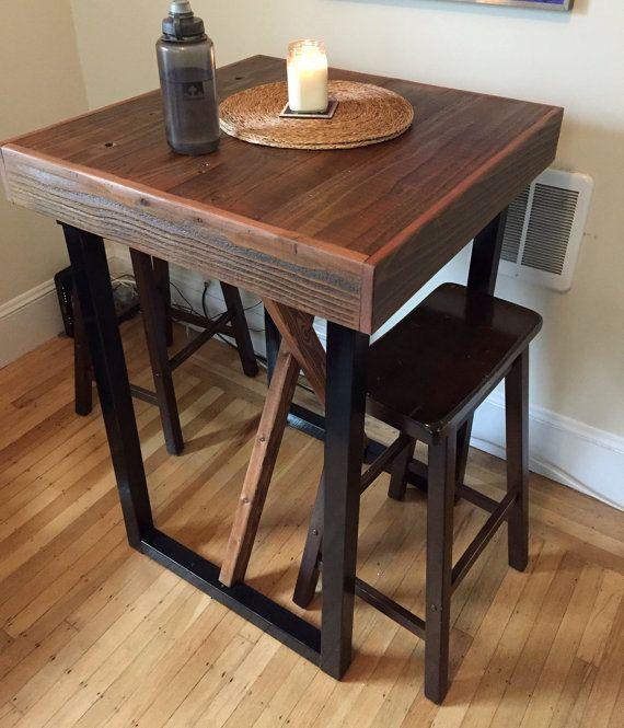Reclaimed Wood Pub Table With Tubular Steel By Urbanminingcompany