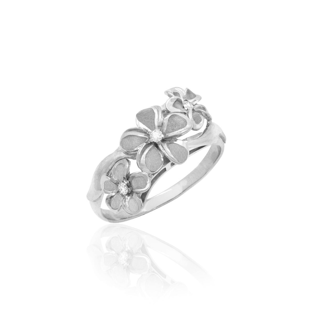 White Gold Queen Plumeria Triple Flower Diamond Ring Flower Diamond Ring White Gold Rings Jewelry