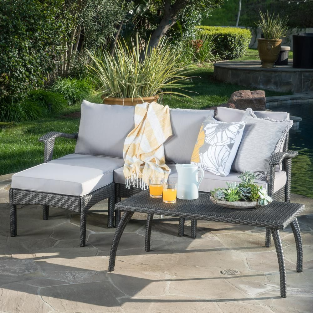 Noble House Gray 5 Piece Wicker Outdoor Sectional Sofa And Table Set With Silver Cushions Outdoor Sectional Outdoor Furniture Sets Sofa Set