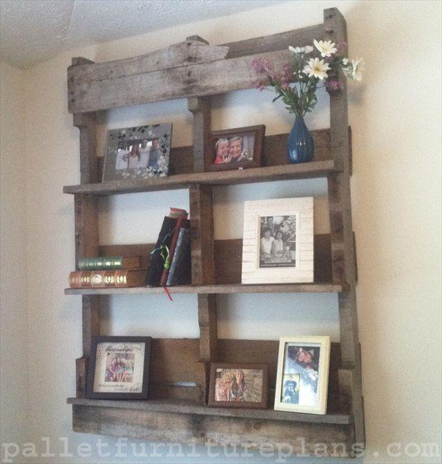 Handmade Old Pallet Shipping Shelves