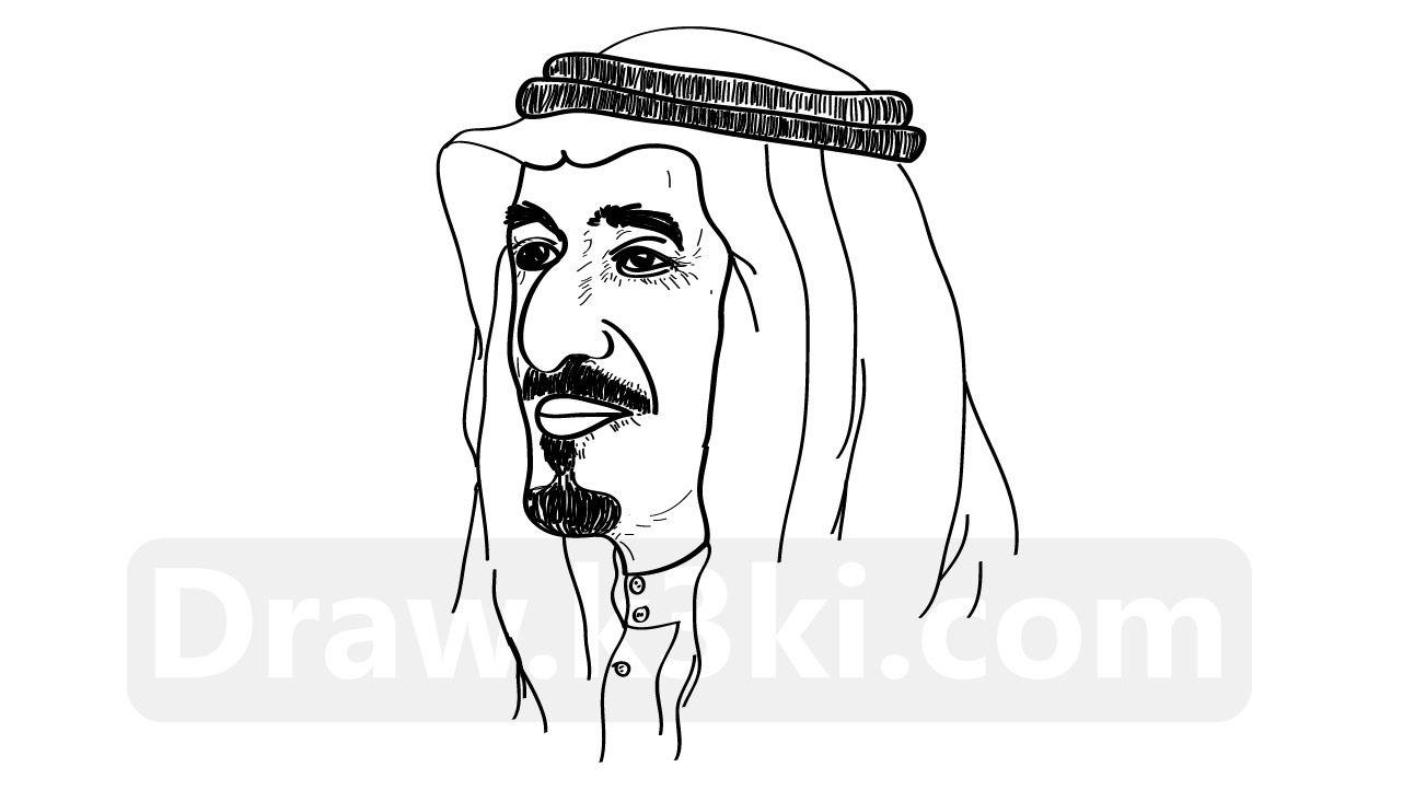 رسمة الملك سلمان تعلم رسم الملك سلمان خطوة بخطوة تعلم الرسم Diy Prints Dino Drawing Caligraphy Art