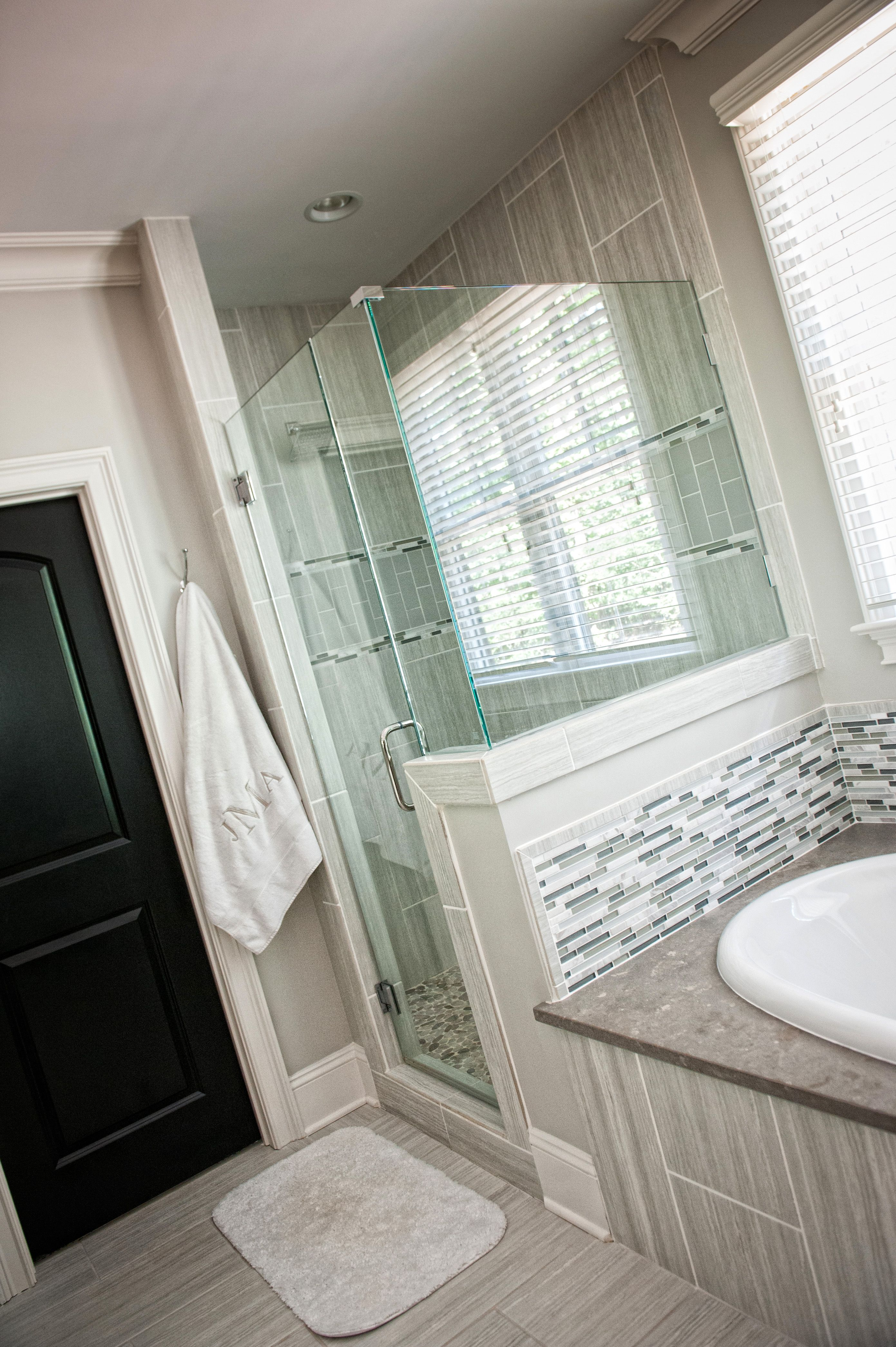 Bathroom, seamless glass shower, tub deck, accent tile ...