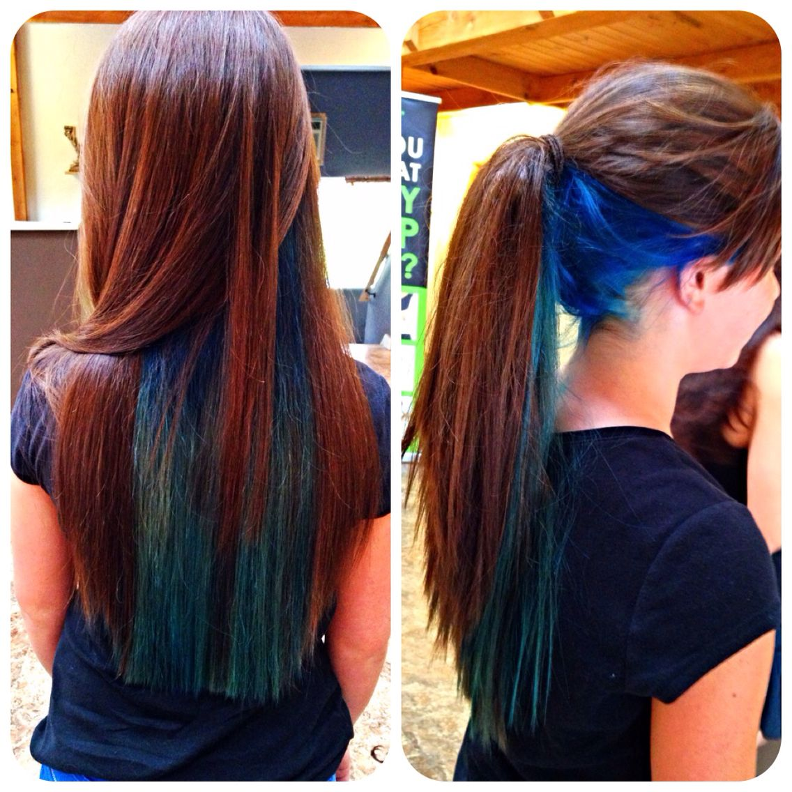 Blue And Teal Under Layer Bright Longhair Colors Except With Purples Blues Instead Hair Styles Long Hair Styles Peekaboo Hair