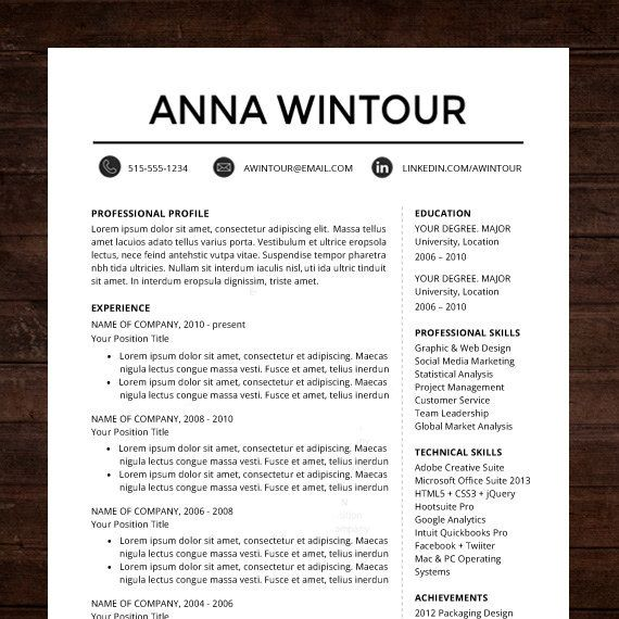 Resume template cv template for word mac or pc professional instant download resume template word format need a resume design makeover the yelopaper Images