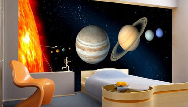 Modern Boys Bedroom With Space Wall Murals Decorating Ideas