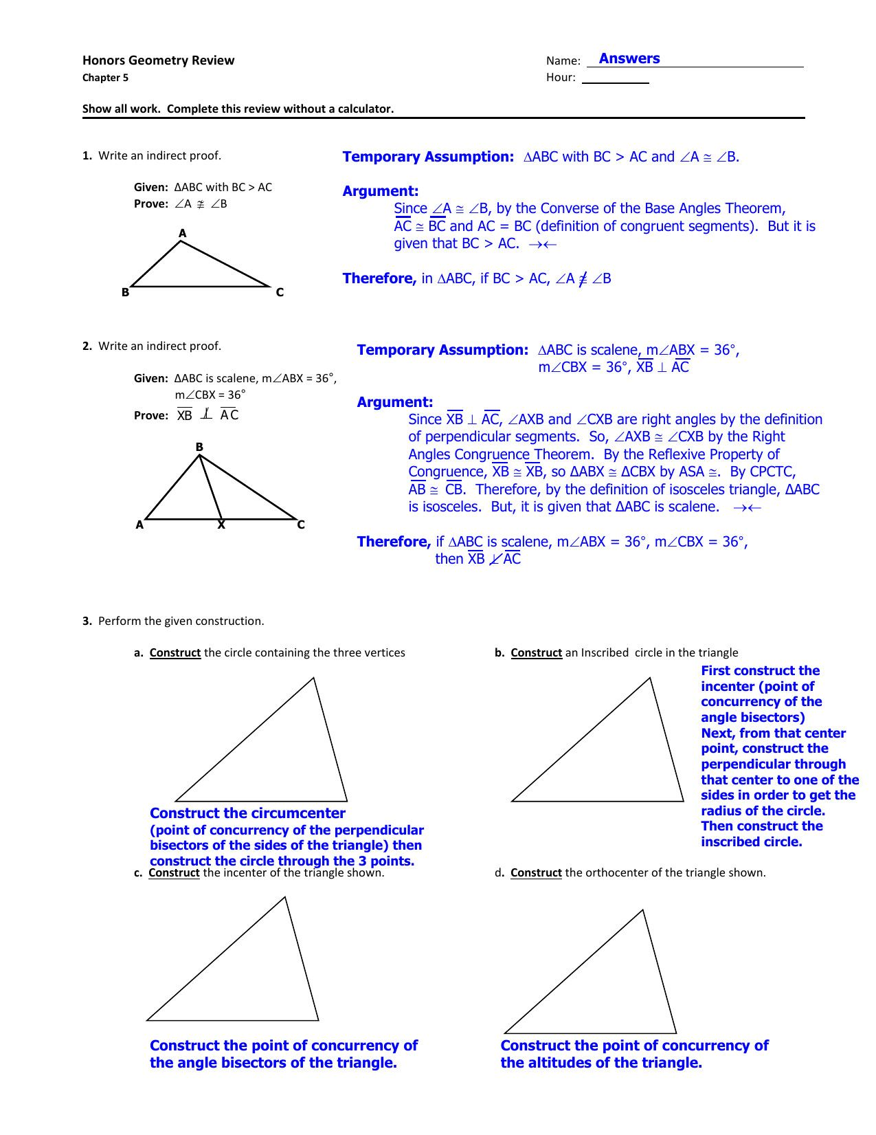 General Special Segments In Triangles Worksheet