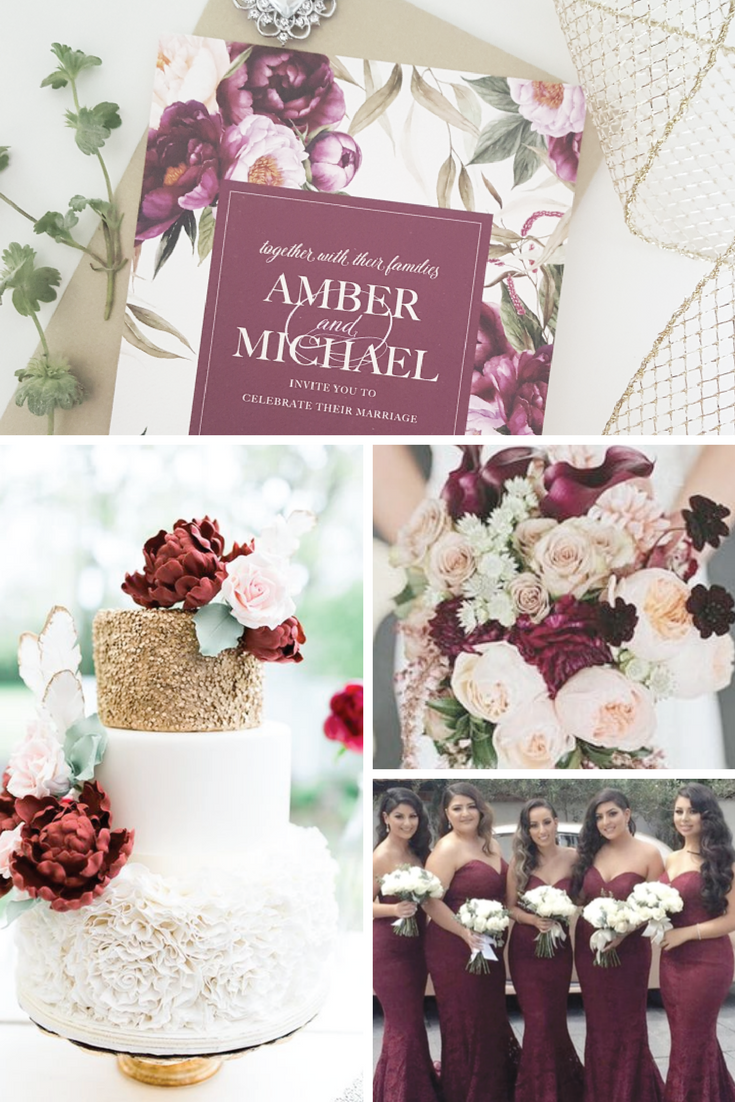 Burgundy Wedding Invitation Floral Wedding Invitation Rustic