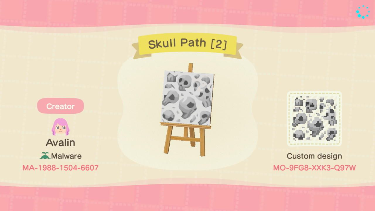 Skull Path 1 Animal Crossing New Horizons Custom Design Nook S Island Animal Crossing Halloween Animals New Animal Crossing