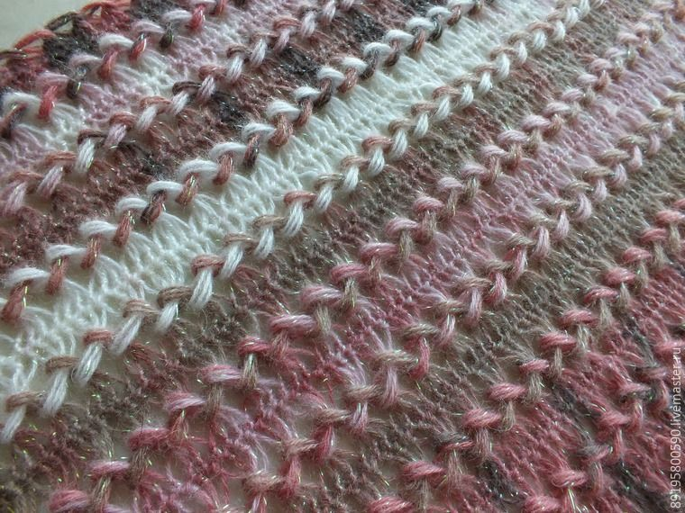 вязание вязание на вилке палантин красивый косы шарф вязаный