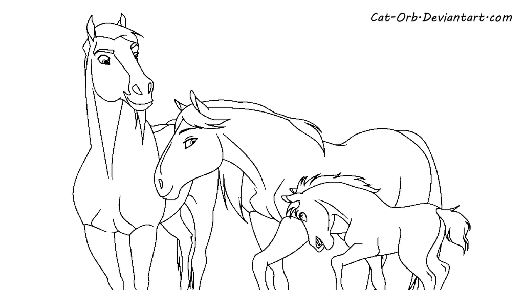 Spirit Family Lineart By Cat Orb On Deviantart Horse Coloring Pages Spirit And Rain Coloring Pages