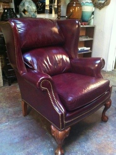 oxblood full grain cowhide wing chair and ottoman