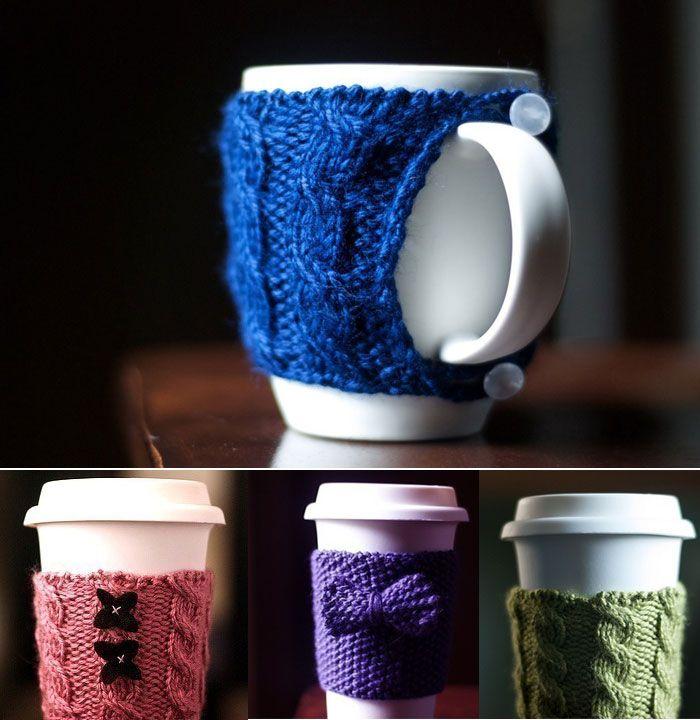 Tejidos para calentar tazas / Knitted mug warmers