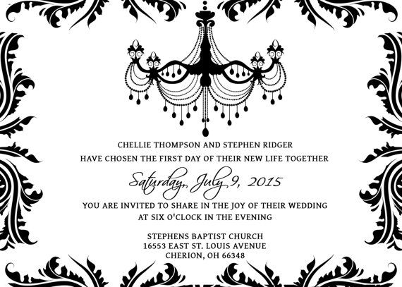 Wedding Invitations Template Set - PSD - Photoshop Gimp - Damask - invitation template