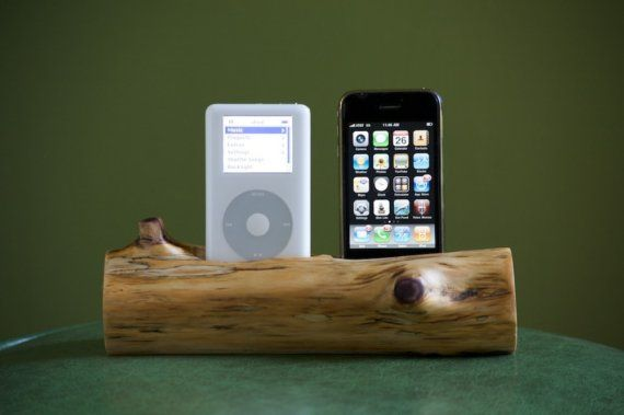 dual iphone/ipod docking station made to order by woodtec on Etsy
