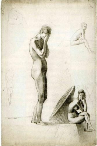 Five studies of female nudes - Odilon Redon