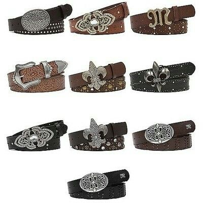 Collection of leather Miss Me belts.