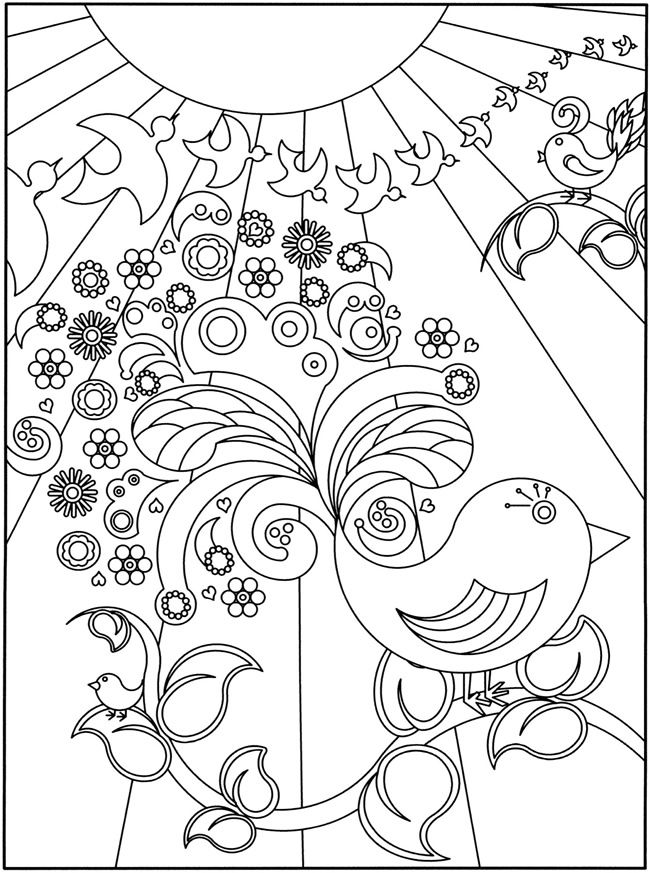 3 D Coloring Book Flower Power Dover PagesPrintable PagesFree