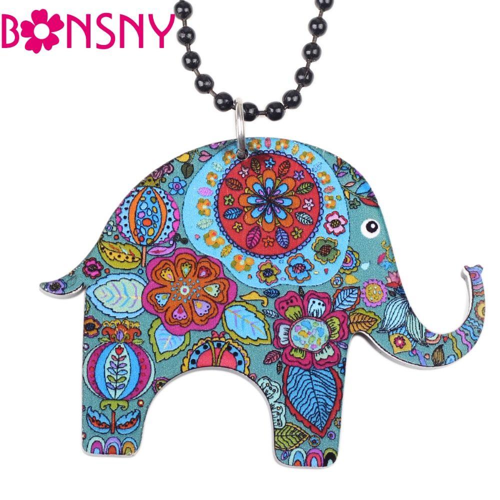 Bonsny Elephant Necklace Acrylic Long Chain Pendant 2016 news ...