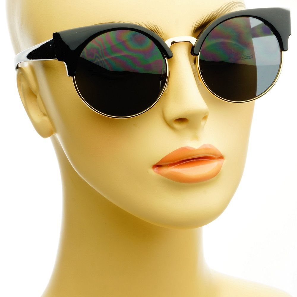 7d8d413b1e0 Womens Half Frame Retro Style Round Sunglasses Shades R53