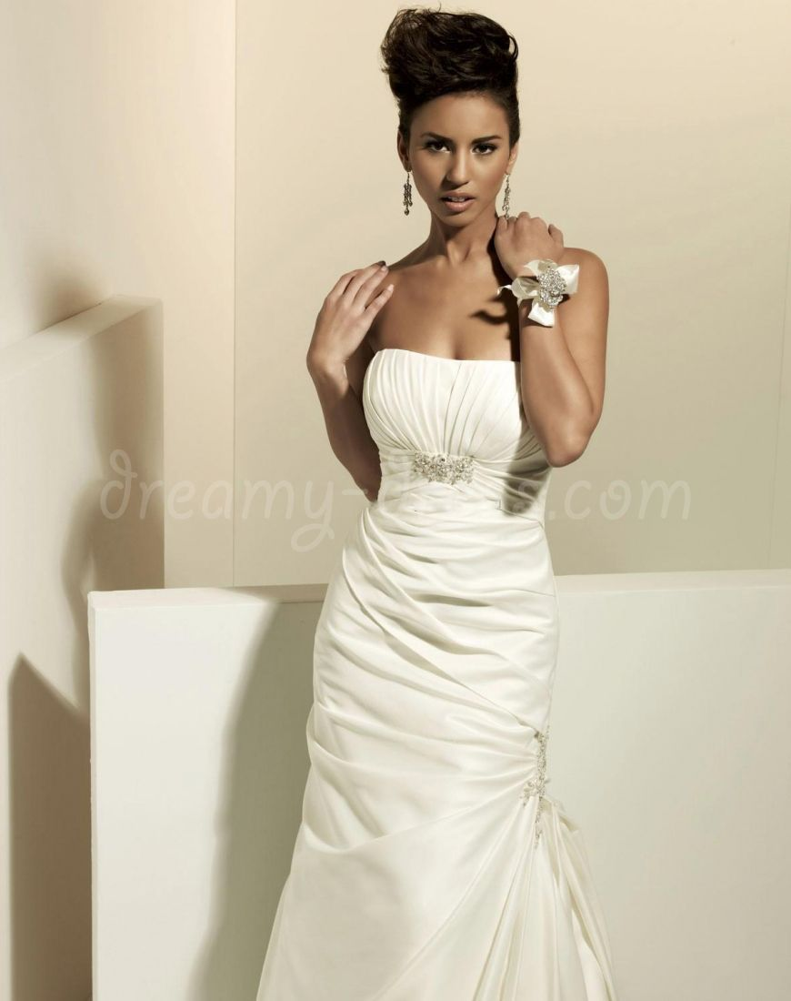 Pleated wedding dress  white taffeta mermaid sleeveless beading pleated court train floor