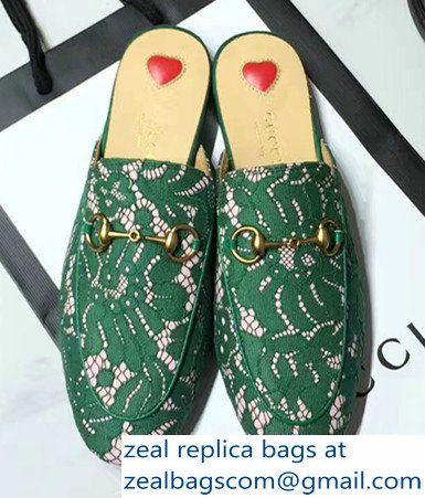 eb4e25fad5e Gucci Princetown In Floral Lace Horsebit Detail Slides 475094 Green 2017