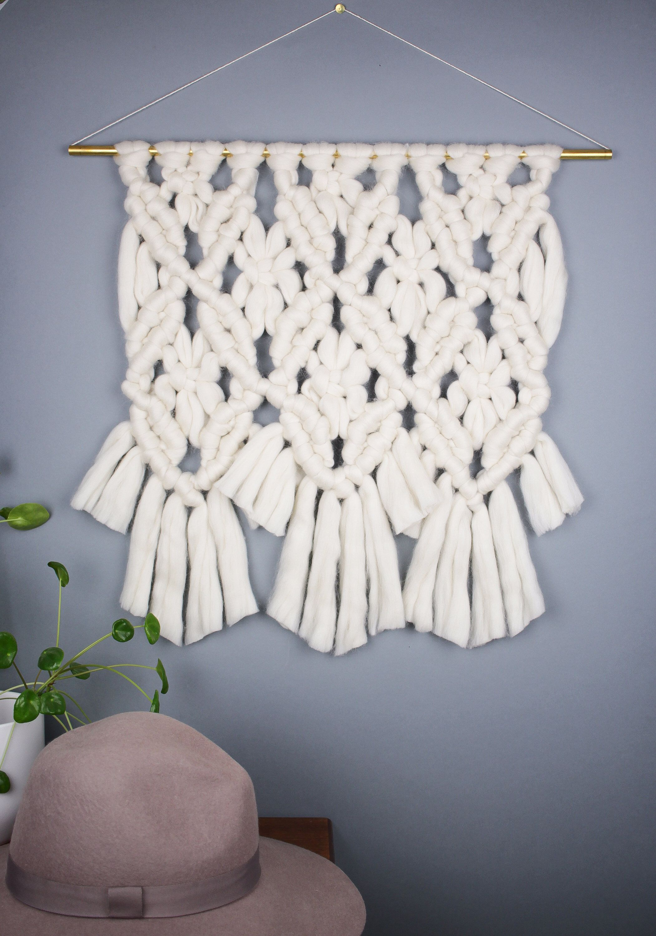 Interior Decor Trend 2018 Macrame Wall Hanging, White Wall Hanging,