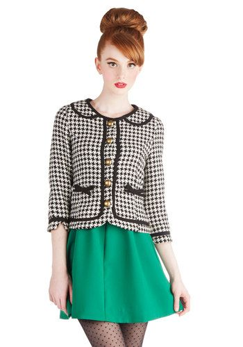 Executive Sweet Jacket by Knitted Dove - Black, White, Checkered / Gingham, Bows, Buttons, Pockets, Work, Vintage Inspired, Collared, 1, Wov...