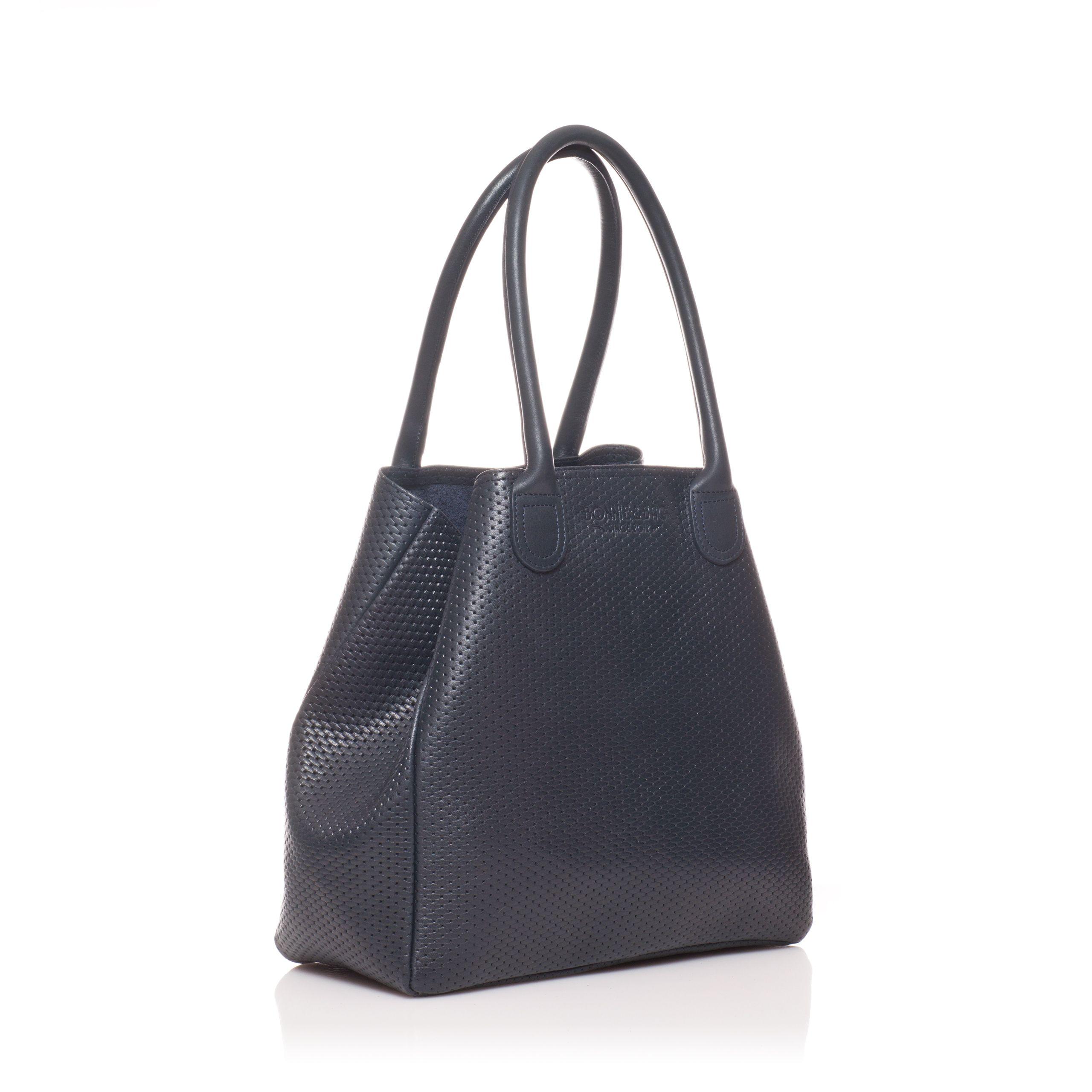 8de7af87ab Petit cabas en cuir mou bleu marine / Small soft leather tote bag in blue  navy - Bonnie and Bag, marque Française de sacs et cabas en cuir