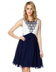 Cream And Navy Chiffon Embellished Dress