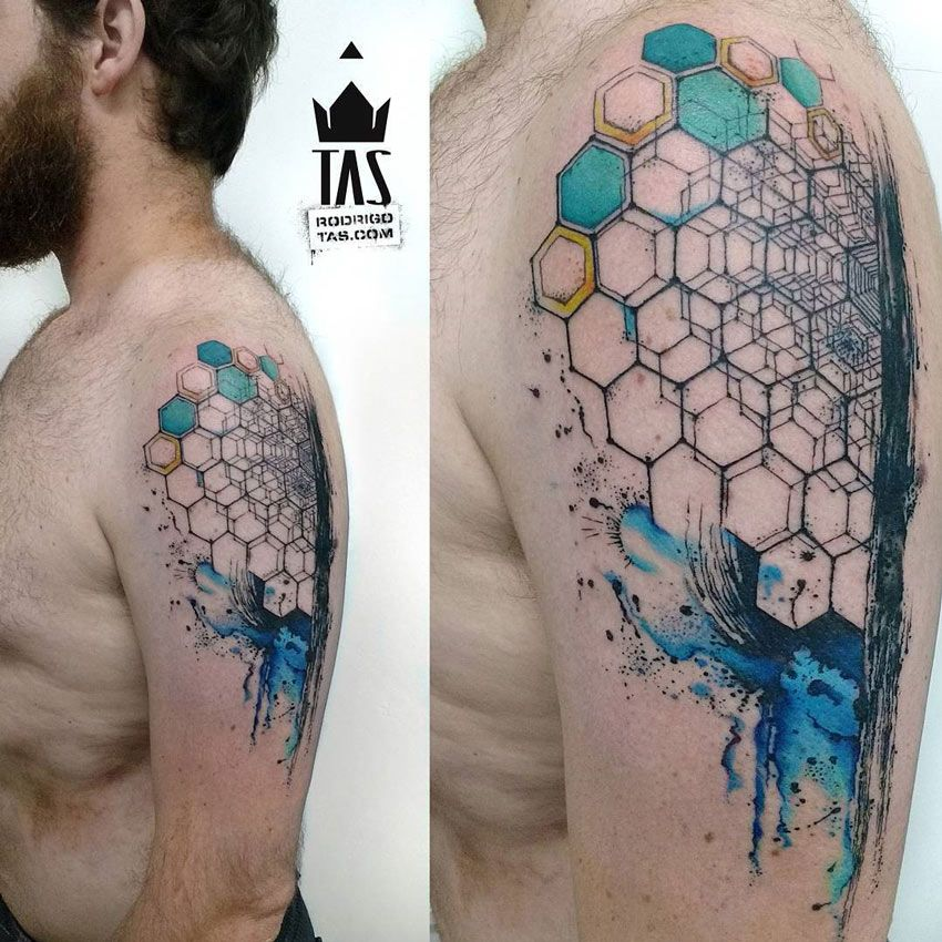 Abstract Hexagon Arm Tattoo Tatouage Geometrique Tatouage