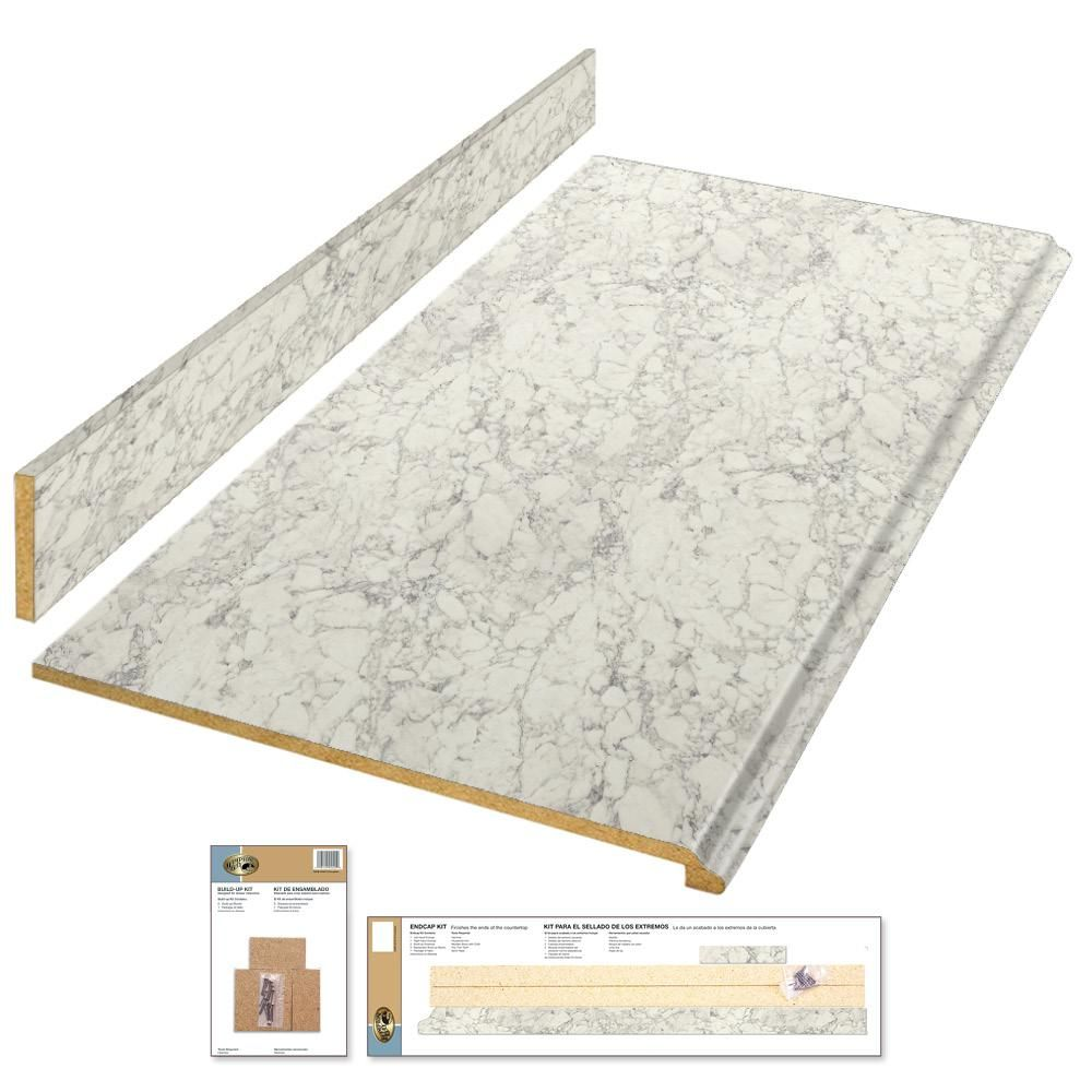 Hampton Bay 4 Ft Laminate Countertop Kit In Marmo Bianco Marble