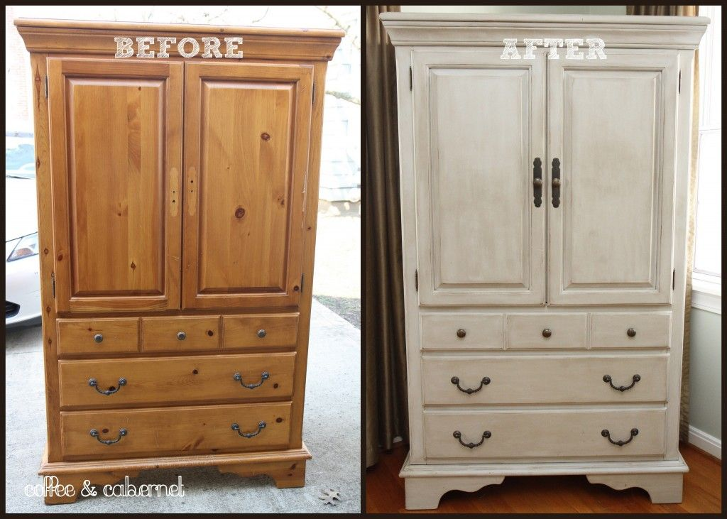 Refurbished armoire found on coffeeandcabernet.com