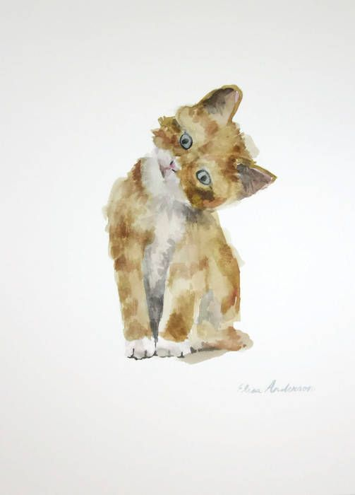 Original Watercolor Painting Cat Watercolor Cat Painting Ginger