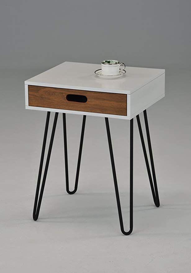 Black Metal Bedside Tables: White / Dark Oak Side End Table Nighstand Black Metal Legs