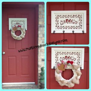 rustic country front door welcome sign, burlap wreath for just $5. Thrift store make over. Trash to treasure at www.rusticredneckdesigns.com