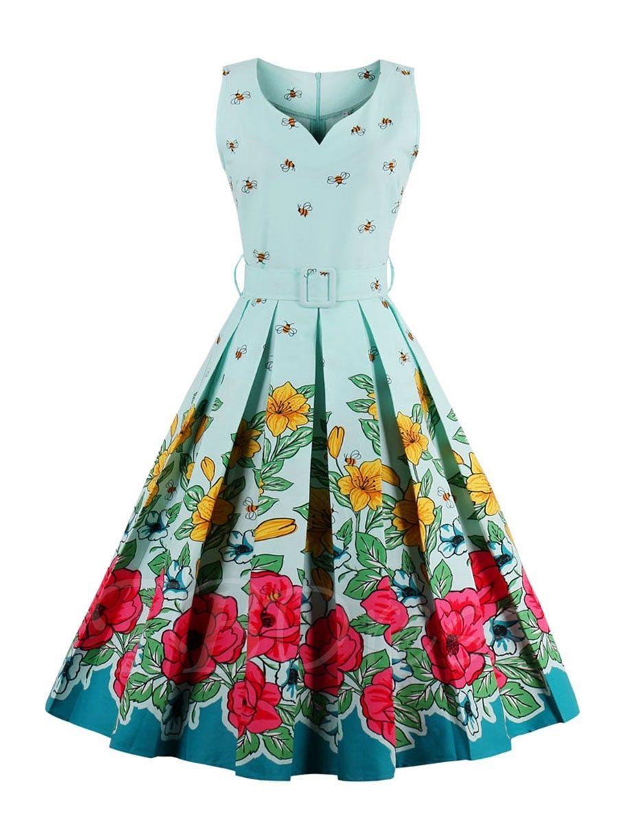 Square Neck Pleated Vintage Floral Women\'s Day Dress   Vintage ...