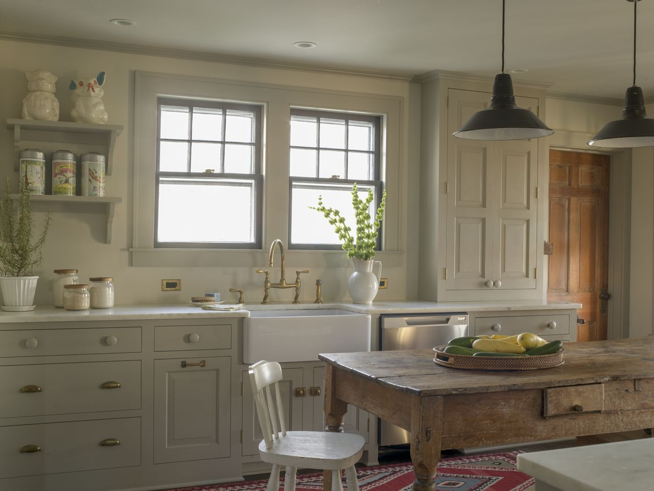 Old Farmhouse Kitchen Renovation Traditional Cabinetry Farm Table Vintage Pendant Lights Country
