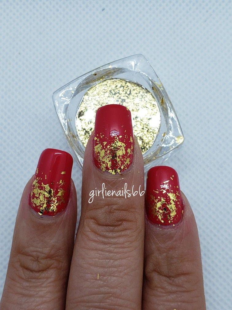 Gold And Red Nails : nails, Nails, Flakes, Nails,, Designs,
