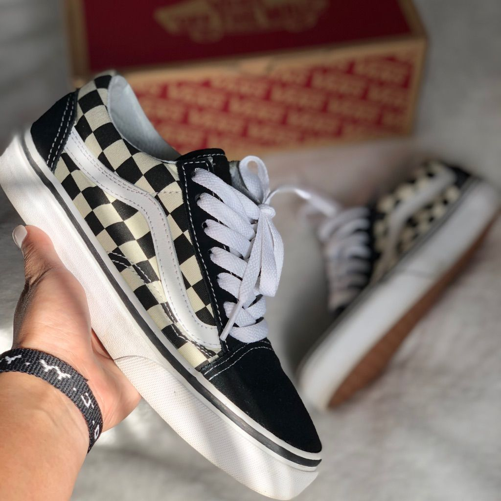 Checkered Old Skool Vans | Vans, Vans
