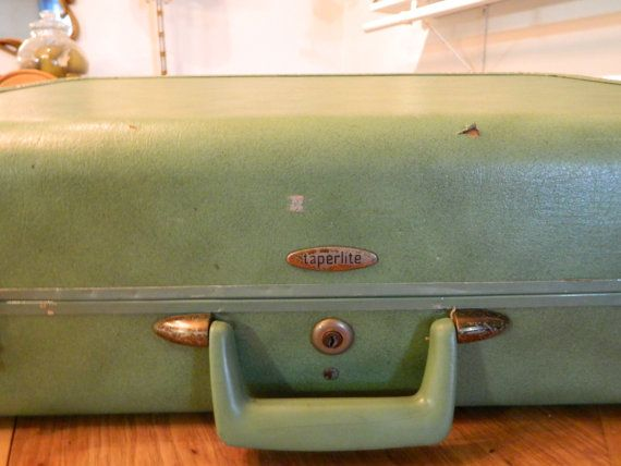 Vintage Luggage Suitcase Seafoam Green Travel by 3sisterstreasures